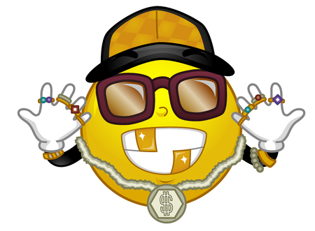 Illustration of a Mascot Smiley Wearing Gold Necklace, a Cap, Sunglasses and Several Rings. Hip Hop and Rap Fashion.