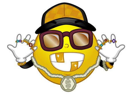 Ilustración de una mascota Smiley con collar de oro, una gorra, gafas de sol y varios anillos. Hip Hop y Rap Fashion.