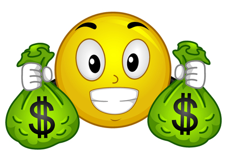 Illustration of a Smiley Mascot Holding Sacks Full of Money with Dollar Sign 스톡 콘텐츠