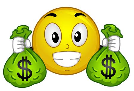 Illustration of a Smiley Mascot Holding Sacks Full of Money with Dollar Sign Standard-Bild
