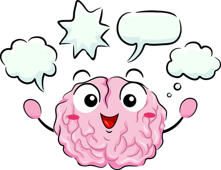 Illustration of a Brain Mascot with Blank Speech Bubbles Stock Photo