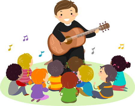 Illustration of a Priest Playing the Guitar and Singing to Stickman Kids Sitting Outdoors