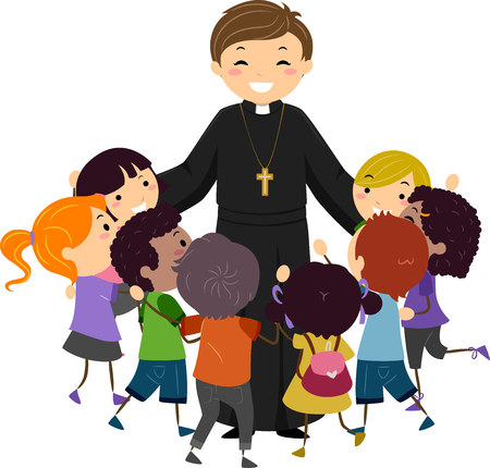 Illustration of a Priest Hugging a Group of Stickman Kids