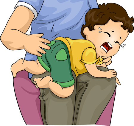 Illustration of a Father Spanking and Hitting His Crying Kid Boy Son 写真素材
