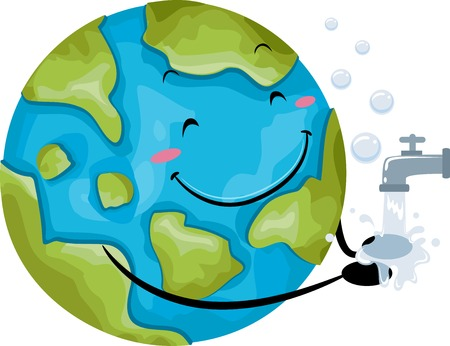 Illustration of a Globe Mascot Washing Its Hand with Tap Water