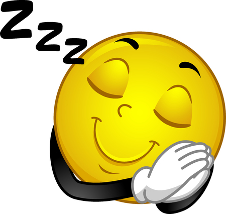 Illustration of a Smiley Mascot with Hands Together as Pillow and Sleeping Symbol