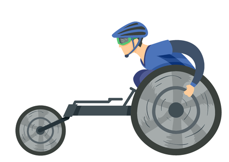 Illustration of a Man in a Modified Wheelchair for Racing Wearing Helmet