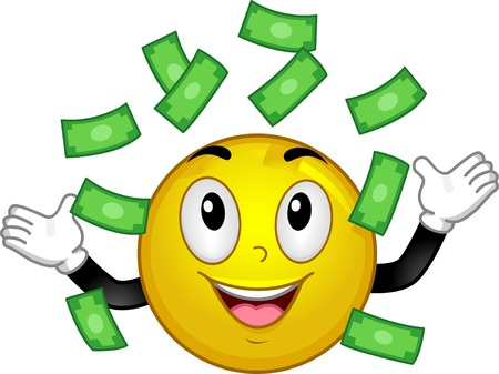 Illustration of Smiley Mascot Happily Watching Money Falling from the Sky