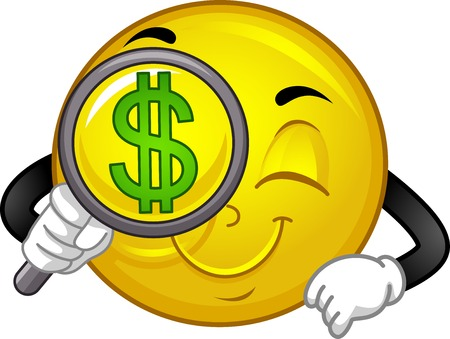 Illustration of a Smiley Mascot using Magnifying Glass to Search for Money Opportunities Stock Photo