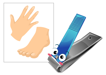 Illustration of a Nail Clipper Mascot with a Hand and Feet for Clipping Nails 스톡 콘텐츠