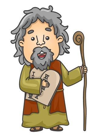 Illustratie van een bijbelverhaal over Mozes met stenen blokken met de tien geboden