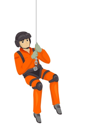 Illustration of a Man in Search and Rescue Hanging on a Harness