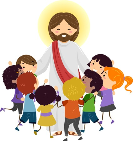 Illustration of Jesus Christ Being Surrounded by Stickman Kids