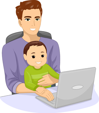 Illustration of a Father Working with His Kid Boy Son and Using the Laptop