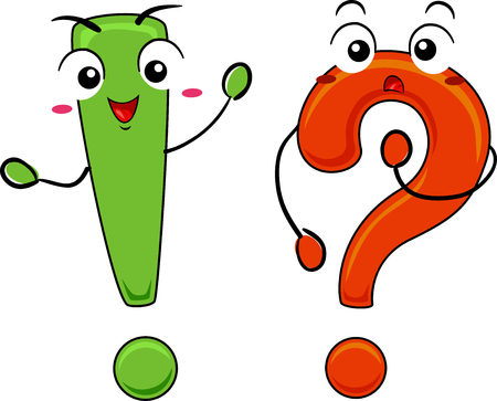 Illustration of Exclamation Point and Question Mark Mascots