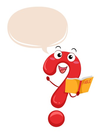 Illustration of a Question Mark Mascot Holding a Fable Book with a Speech Bubble Stock Photo