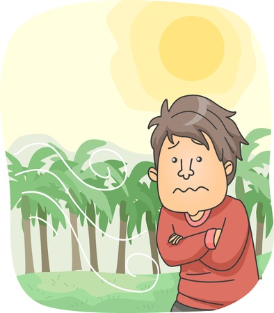 Illustration of a Man Wearing Long Sleeves During a Hot and Windy Weather