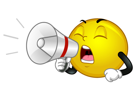 Illustration of a Smiley Mascot Shouting and Holding a Megaphone Фото со стока