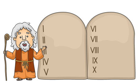 Illustration of a Bible Story About Moses Pointing to the Ten Commandments Tablet Imagens - 93547921