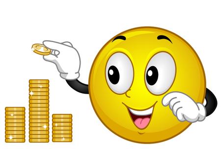 Illustration of a Smiley Mascot Stacking Coins Up