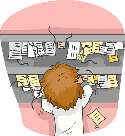 Illustration of a Man Stressed Due to Excess Orders Coming In Stok Fotoğraf