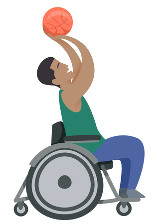 Illustration of a Man in the Wheelchair Shooting a Basketball