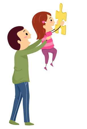 Illustration of a Father Carrying His Daughter to Solve a Jigsaw Puzzle Above
