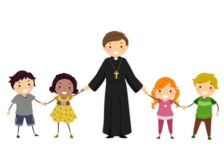 Illustration of a Priest Holding Hands of Stickman Kids