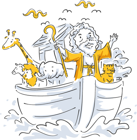 Illustration of a Bible Story About Noah and Different Animals Riding His Ark