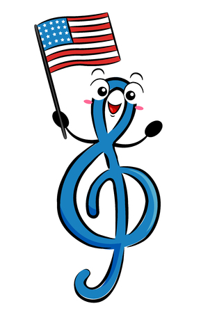 Illustration of a GClef Music Note Holding a US Flag Singing Patriotic Song