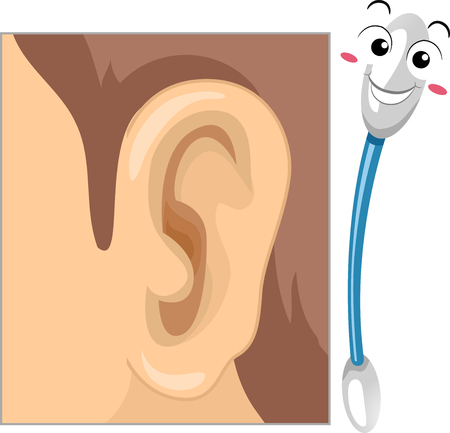 Illustration of a Cotton Bud Mascot Smiling with an Ear Drawing for Cleaning Ears Archivio Fotografico