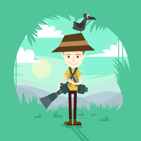 Illustration of a Wildlife Photographer Carrying Cameras and with a Bird on Top of His Hat Фото со стока - 93443804