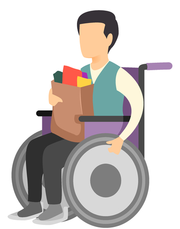 Illustration of a Man in a Wheelchair Carrying a Bag of Groceries Imagens