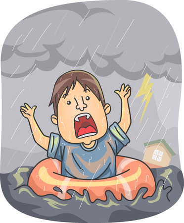 Illustration of a Man Using a Ring Floater Floating in Flood from Hurricane, Typhoon or Cyclone