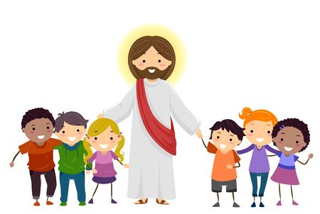 Illustration of Stickman Kids with Jesus Christ