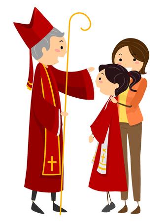 Ilustração, de, um, Stickman, menina adolescente, tendo, a, sacramento, de, confirmação, com, um, padre, e, dela, mãe