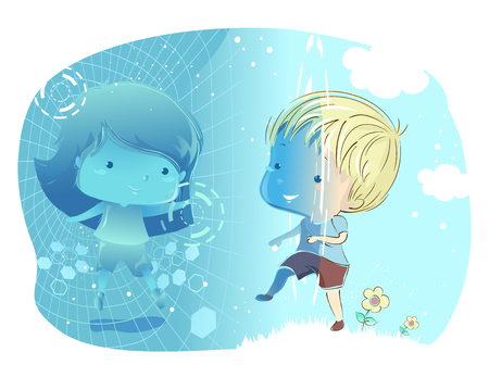 Illustration of a Kid Boy Entering Virtual Reality to Meet a Kid Girl Friend Stock Photo