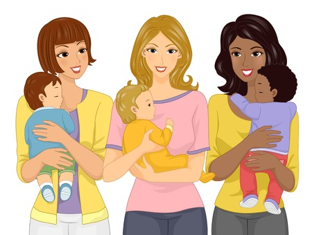 Illustration of a Mom Carrying Her Baby with similar Mom Friends Carrying their Babies Фото со стока - 93880141