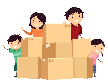 Illustration of Stickman Family with Cardboard Boxes Ready for Moving, Changing House