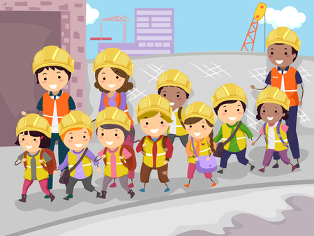 Illustration of Stickman Kids Student with Teacher Visiting Construction Site