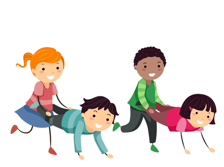 Illustration of Stickman Kids Wheelbarrow Walking with Friends