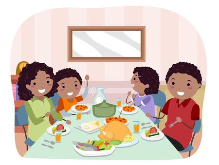 Illustration of Stickman African American Family Having a Meal Stock Photo