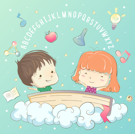 Illustration of Kids in the Clouds with a Book, the Alphabet and different Education Elements Stock Photo