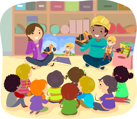 Illustration of Stickman Kids Listening to a Construction Story in Class. Female Teacher Holding Book and Male Teacher Holding Toy and Puppet