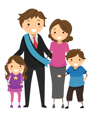 Illustration of Stickman Family with a Politician Father