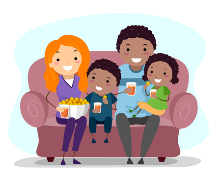Illustration of an African American Family with a Step Mother