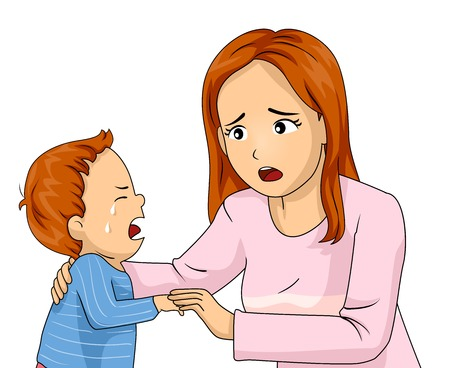 Illustration of a Mom Comforting Her Crying Son in Pajamas