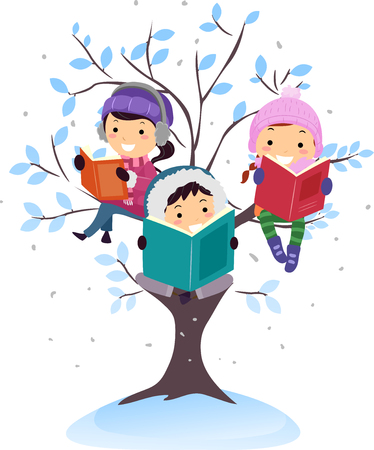 Illustration of Stickman Kids In Winter Reading Books Under the Snow While Sitting on a Tree