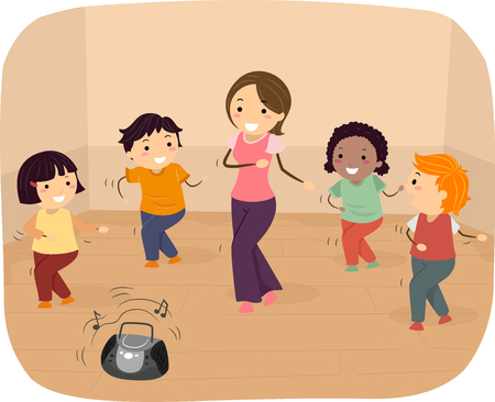 Illustration of Stickman Kids Dancing with their Teacher in the Studio
