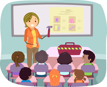Illustration of Stickman Kids in Class with Teacher Introducing Construction Tools